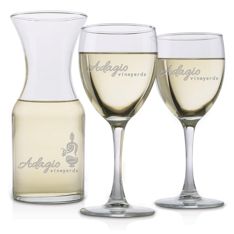 Three Piece Wine Set - Deep Etched