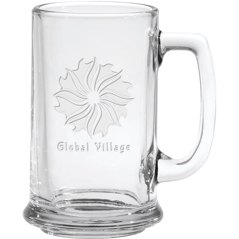 15 oz. Glass Tankard - Deep Etched