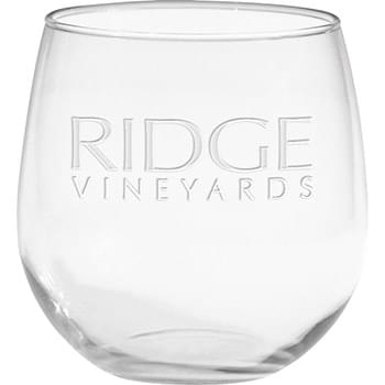 16.75 oz. Stemless Red Wine Glass - Deep Etched