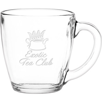 16 oz. Glass Bistro Coffee Mug - Deep Etched