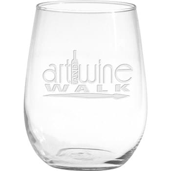 17 oz. Vina Stemless White Wine - Deep Etched
