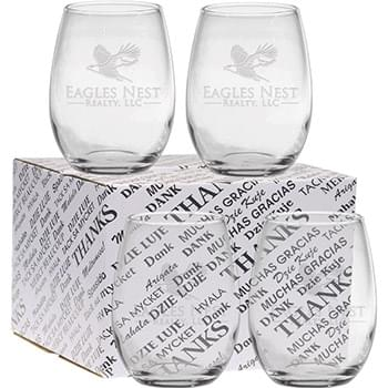 15 oz. Stemless Thank You Set - Deep Etched