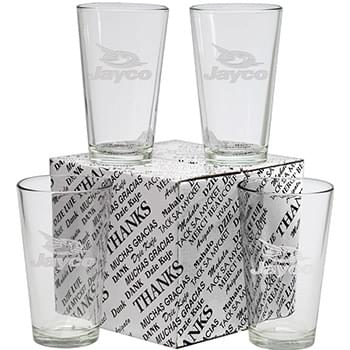 16 oz. Thank You Set of 4 Mixing Glasses- Etch