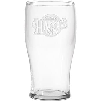 20 oz Large Pub Glass - Deep Etched