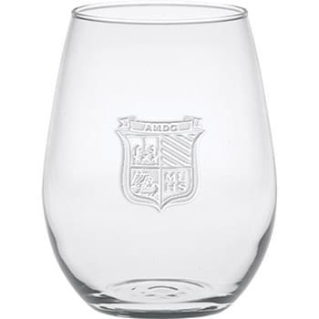 5 oz. Stemless White Wine - Deep Etched