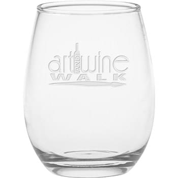 12 oz. Stemless Wine Glass - Deep Etched