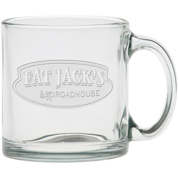 13 oz. Clear Glass Coffee Mug - Deep Etched