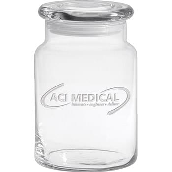 26 oz. Apothecary Jar with Flat Lid - Deep Etched