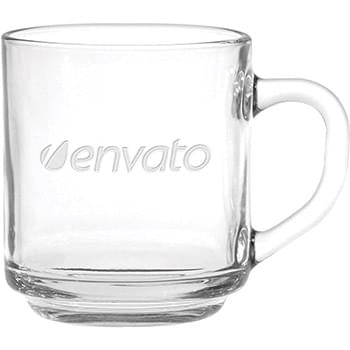 10 oz. Capri Glass Coffee Mug - Deep Etched