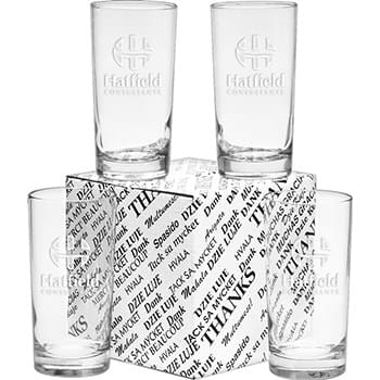 12 oz. Deluxe Beverage Thank You Set - Deep Etched