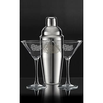 3 Pc. Martini Set with Stainless Steel Shaker